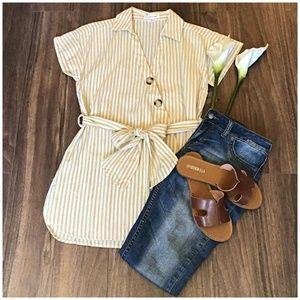 Roommates Boho Chic Caramel Yellow Linen Tunic Top